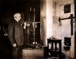 Brush in his basement lab with an arc light